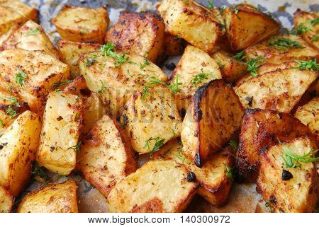 close up of the roasted potatoes macro