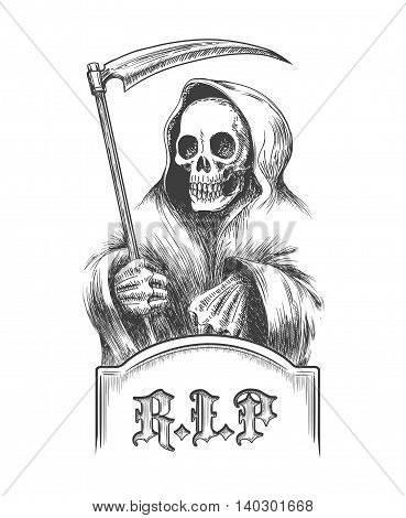 Death with a scythe on the cemetery over a tombstone. Illustration in engraving style.