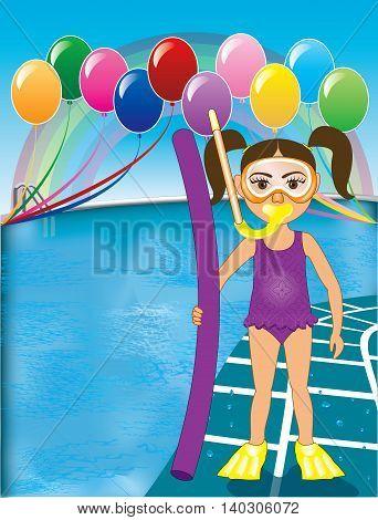 Pool Snorkel Girl Purple