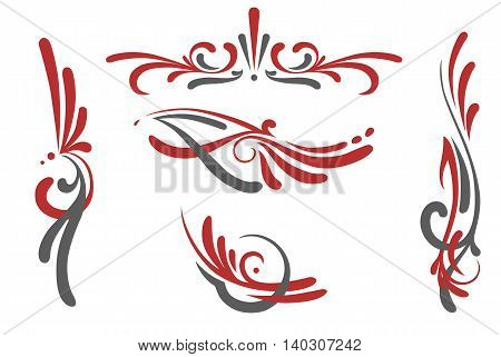 vector set of 5 different old school swirl styled pin stripes graphic ornaments