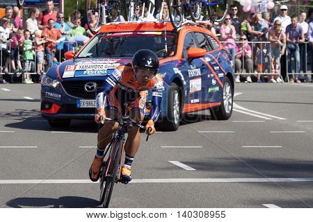 Apeldoorn, Holland, May 6, 2016:Cyclist Yamamoto Genki of team Nippo-Vini Fantini riding during the stage 1 ( time trial) of the Giro d'Italia