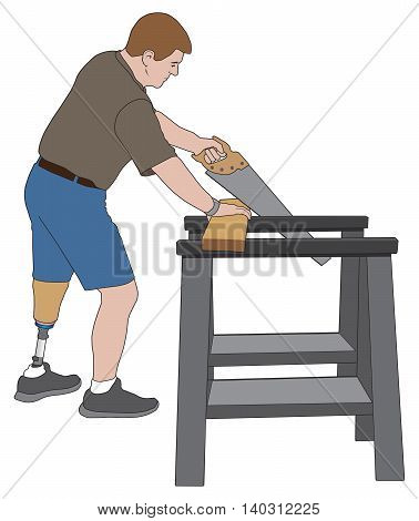 Left leg amputee using two sawhorses to cut a board with a handsaw