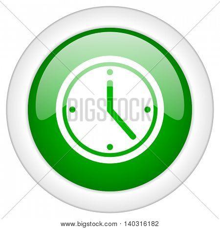 Green glossy round web clock vector icon