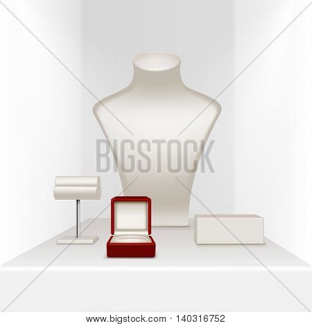 Vector Set Of White Necklace Earrings and Bracelet Stand for jewelry with Red Jewellery Box Close up Isolated in White Showcase