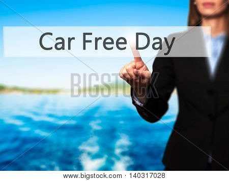 Car Free Day - Isolated Female Hand Touching Or Pointing To Button