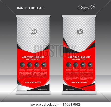 Red Roll up banner template and Mobile infographics stand display advertisement flyer vector