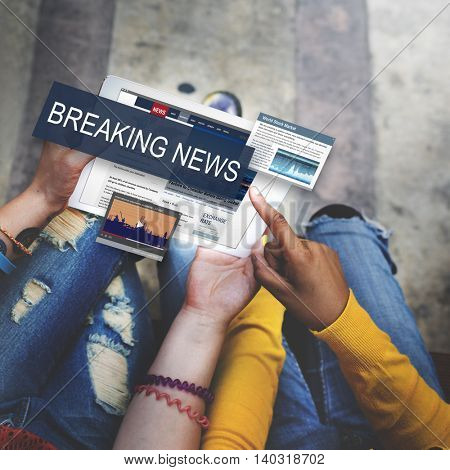 Breaking News Media Announcement Social Concept
