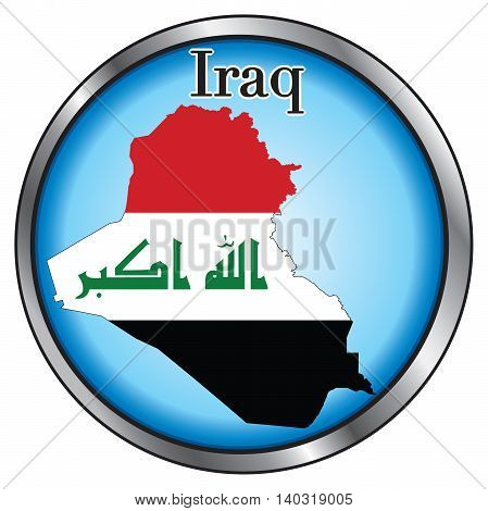Vector Illustration for Iraq Round Button Flag Map.