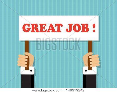 hands holding a sign with a good job offer