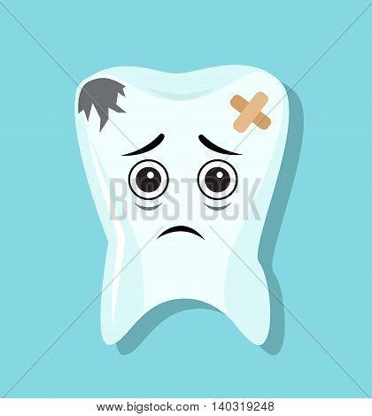 sick sad blackened teeth sealed with adhesive tape