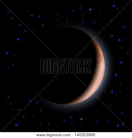 Eclipse of the planet on the black background. Blue shining stars.