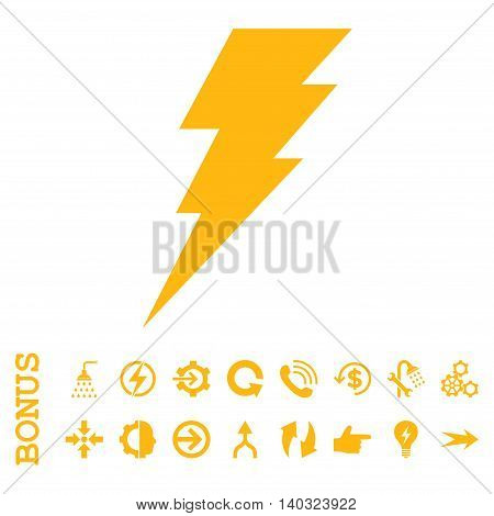 Execute glyph icon. Image style is a flat iconic symbol, yellow color, white background.
