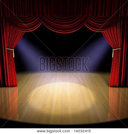 Stage di teatro con tenda rossa e faretti sul pavimento fase.