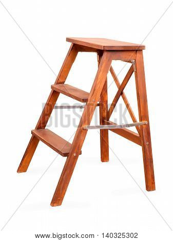 Small old-stile folding wooden ladder isolated on white with clipping path
