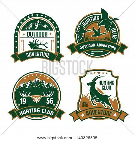 Hunting club shields set. Vector hunt sports label emblems with animals, elk, mountain goat, birds, ducks, arrows, mountains. Hunter identity design for badge, t-shirt, outfit