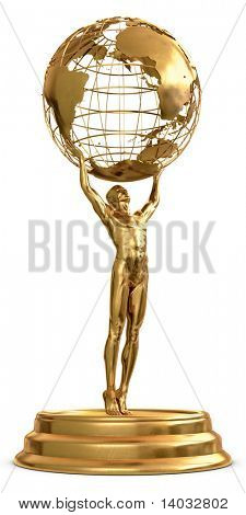 A gold trophy of a man holding a globe isolated on a white background. Includes detailed clipping path!!