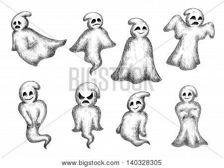 Halloween funny cartoon ghosts and spooks. Cute scary artistic bogey with face expressions. Vector icons set
