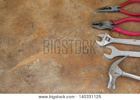 Different Tools On Rustic Wooden Worktop, Copy Space Background