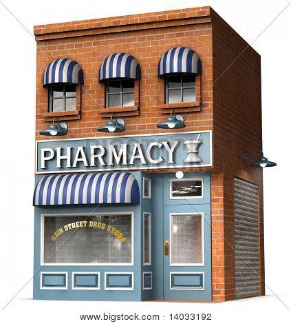 Stilisierte Version eines legendären American Drug-Speichers, die isoliert auf weißem Hintergrund mit Beschneidungspfad