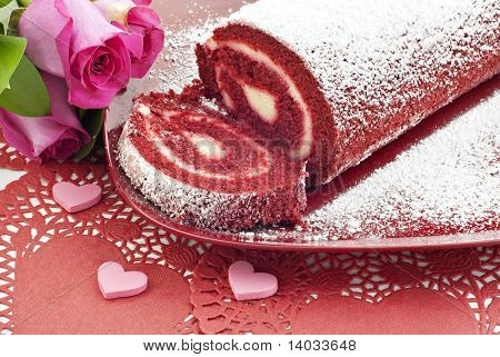 Red Velvet Cake Roll With Hearts