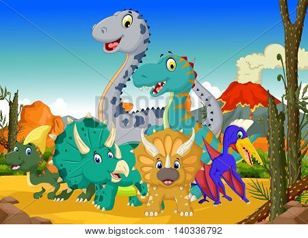 funny dinosaur cartoon in the jungle with landscape background