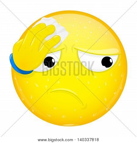 Emoji wipes the sweat with a handkerchief. Hard work heat workout emotion. Perspire emoticon. Vector illustration smile icon.