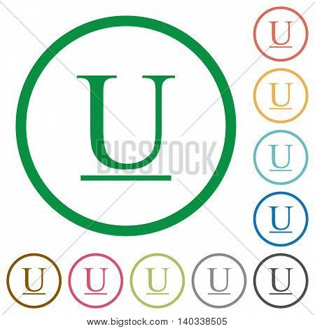 Set of underlined font type color round outlined flat icons on white background