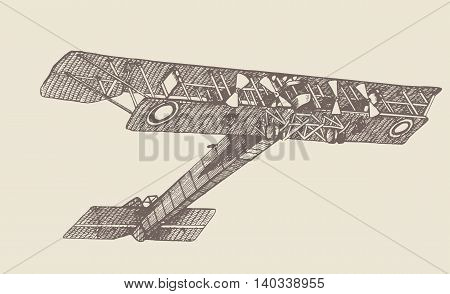 Vintage plane Ilya Muromets 1914. Hand drawn illustrations. In engraving style. Drawn in ink and pen. Hand drawing pictures. Using in your design