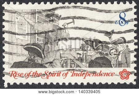 MOSCOW RUSSIA - CIRCA APRIL 2016: a post stamp printed in the USA shows posting a broadside the series