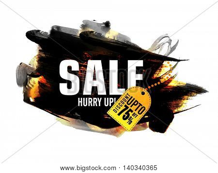 Sale with Discount upto 75% Off, Creative Poster, Banner, Flyer or Tag design with abstract watercolor brush-strokes.