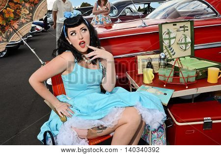 Retro Styled Girl at vintage fashion and classic car show in Auckland, New Zealand