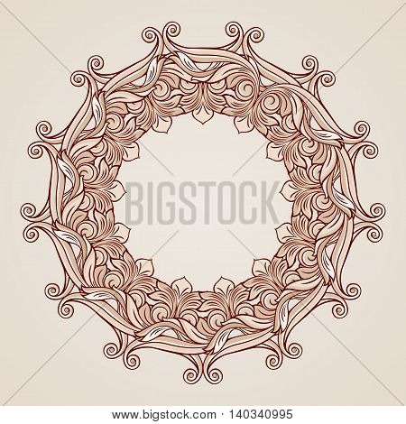 Round florid pattern in pastel rose pink shades