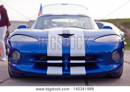 Kiev, Ukraine - 23 April, 2016: American sports car  Dodge Viper on exhibition of old cars - OldCarLand 2016