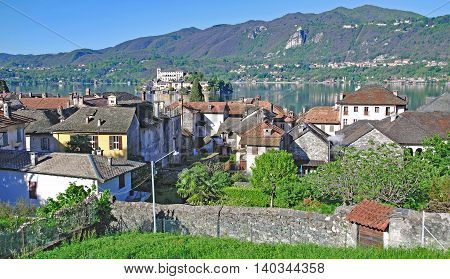 View over Village of Orta San Giulio to Isola San Giulio at Lake Orta,Piedmont,Italy