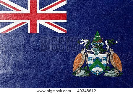 Flag Of Ascension Island, Canada, Painted On Leather Texture