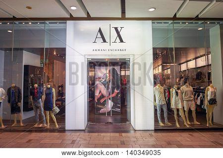 PATTAYA, THAILAND - FEBRUARY 22, 2016: Armani Exchange store in Pattaya. Giorgio Armani S.p.A. is an Italian fashion house founded by Giorgio Armani