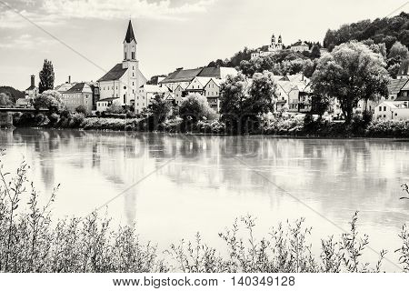 Saint Gertraud church and Sanctuary Mariahilf on the hill in Passau Germany. Cultural heritage. Religious architecture. Beautiful place. Black and white photo. Architectural theme.