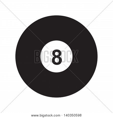 Flat icon 8-ball pool isolated on white background. Billiard ball. Vector illustration.