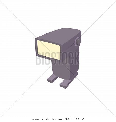 External flash camera icon in cartoon style isolated on white background. Photography symbol