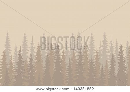 Beige outlines fir forest on light beige, design elements, vector illustration