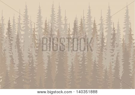 Beige and shapes fir forest, red sun on light beige, design elements, vector illustration