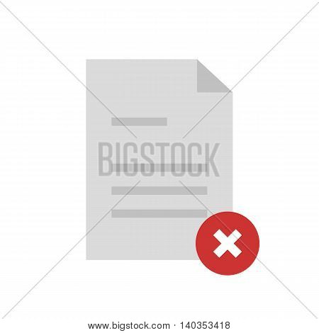 Flat icon rejected document with text. Vector illustration.