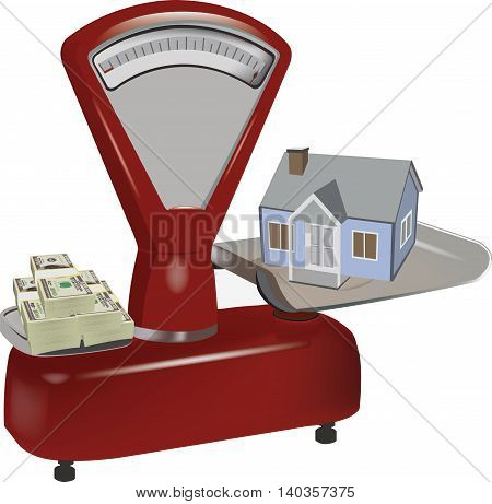 old red scale with home and foreign currency payment