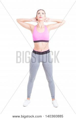 Young Female Doing Exercises In Gym Class