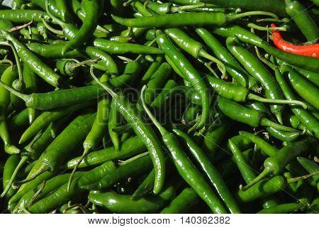 green pepper green chilli, Chilies pepper background