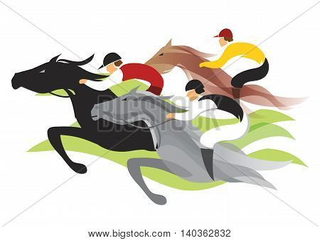 Colorful stylized illustration horse racing in a track. Vector available.
