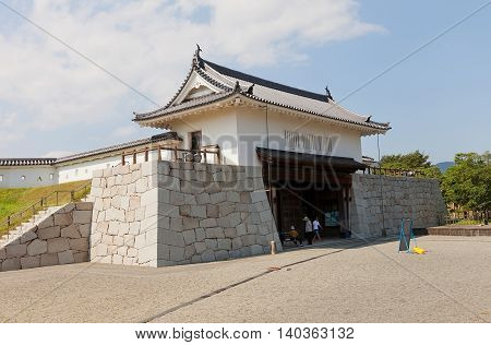 AKO JAPAN - JULY 18 2016: Inner Honmarumon gate (gate of main bailey yaguramon type restored in 1996) of Ako Castle (circa 17th c.). Castle was a seat of Lord Asano Naganao