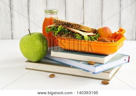 Kids lunch box with healthy meal. Back to school concept. Selective focus