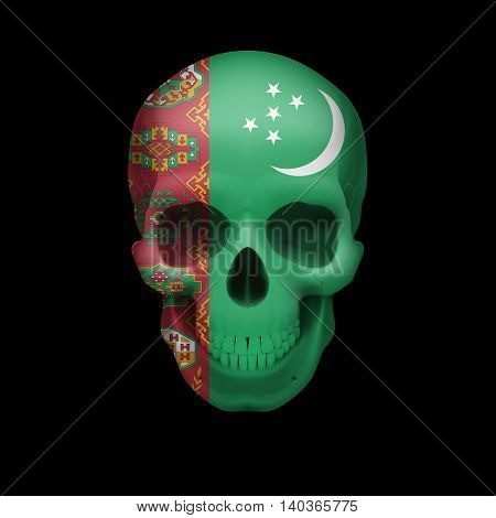 Human skull with flag of Turkmenistan. Threat to national security war or dying out