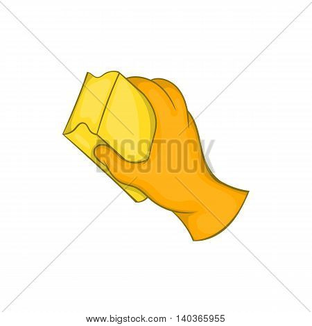 Hand in orange glove with rag icon in cartoon style on a white background